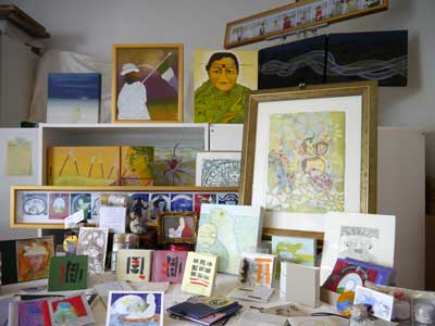 A display of artworks by Fern Smith